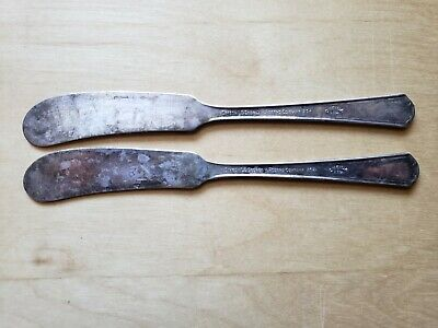 """2 Vintage Collectible ANTIQUE KNIVES 5.5"""",SIMEON L&GEORGE H ROGERS SILVER PLATE"""