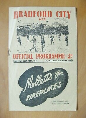 BRADFORD CITY v DONCASTER ROVERS 1948/1949 *VG Condition Football Programme*