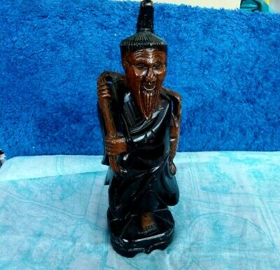 Vintage Wooden Chinese Fisherman Hand Curved Figurine Asian Man Statue