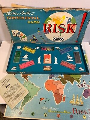 Vintage 1959 RISK Board Game Parker Brothers Wooden Pieces Continental War Game