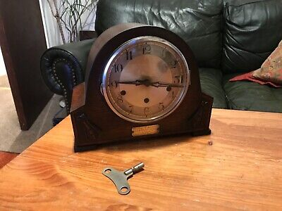 Vintage Antique Art Deco Mantle Westminster Clock Working 1937