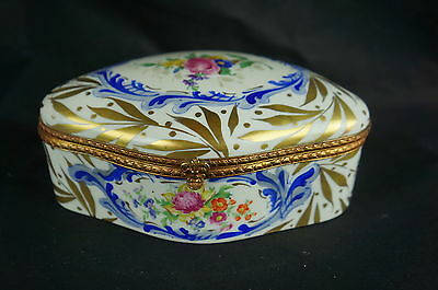 "Superb Antique hand painted French box-minor condition issues 7"" [Y8-W6-A9]"