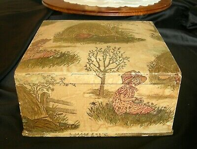 Antique Victorian Paper Covered BAND BOX Square w/ Satin Lining Pastoral Scene