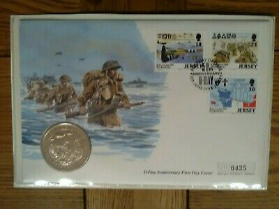 D Day 50th Anniversary FDC 1994, Alderney £2 coin, Jersey stamps.