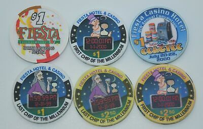 6 Fiesta $1 - $2.50 Casino Chips Millennium N. Las Vegas  ChipCo./H&C Paul-son