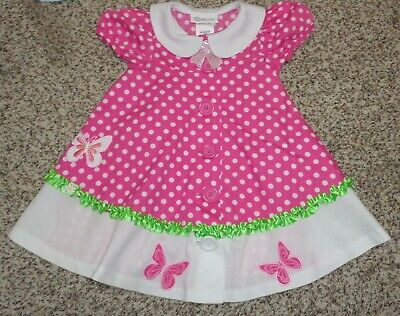4ae1a124d97 Bonnie Jean Toddler Girls Polka Dot Butterfly Dress Pink White Green Size 2T
