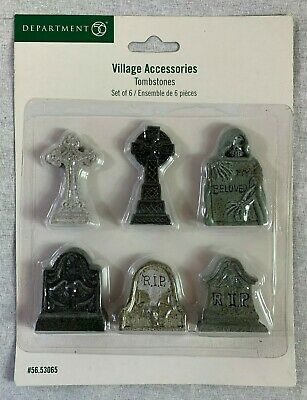 Department 56 Graveyard Tombstones Accessories Halloween Village Figurine Set