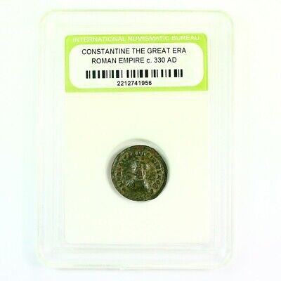 Slabbed Ancient Roman Constantine the Great Coin c330 AD Exact Coin Shown rm4399