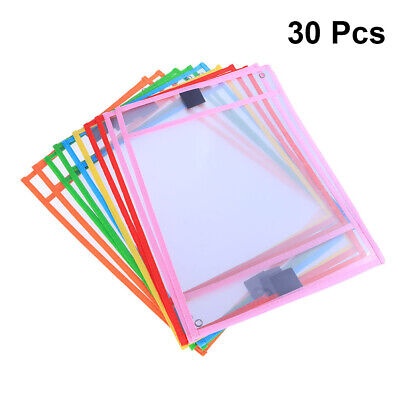 30pc Resuable Dry Erase Pocket Sleeves Students Kids Write and Wipe Tool Pockets