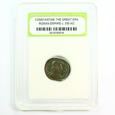 Slabbed Ancient Roman Constantine the Great Coin c330 AD Exact Coin Shown rm4335