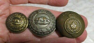 3 Buttons Victorian Canada Militia, Northwest Mounted Police Beaver/1 MAPLE LEAF