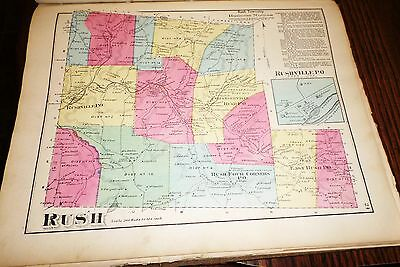 Original 1872 Maps Town Of Rush, Hamlet Rushville Pa Susquehanna County