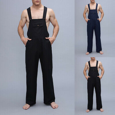 Men's Casual Overall Dungarees Jumpsuit Overalls Trousers Butcher Playsuit Pants
