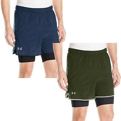 Under Armour UA Mens Qualifier 2-in-1 Sports Gym Training Shorts - Blue