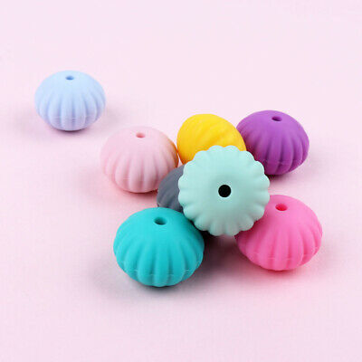 10PC Silicone Beads Baby Teething Toy Teether Bead Pacifier Chain Chewable DIY