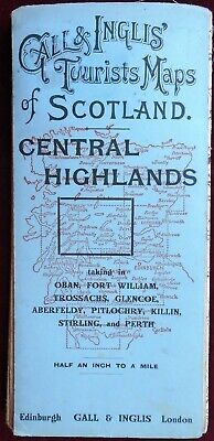 VINTAGE GALL & INGLIS HALF-INCH CLOTH MAP of SCOTLAND CENTRAL HIGHLANDS