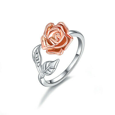 Exquisite Two Tone 925 Silver Floral Rings 14k Rose Gold Flower Wedding Jewelry