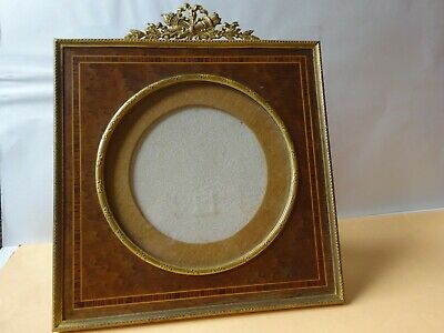 Grand Cadre-Photo XIXe en Bronze Marqueterie Laiton Style Louis XVI
