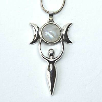 Large Triple Moon Goddess Pendant Moonstone Sterling Silver Wicca Witch Reiki