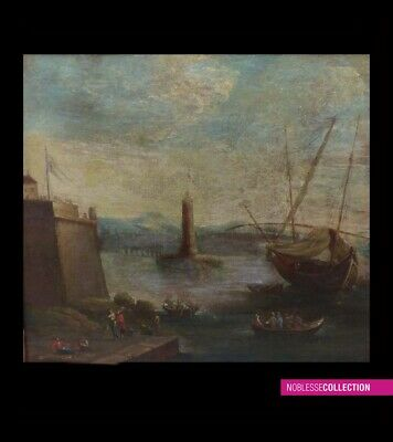 "ANTIQUE ORIGINAL FRENCH SCHOOL 18th Cent. OIL ON CANVAS PAINTING MARINE ""Harbor"""