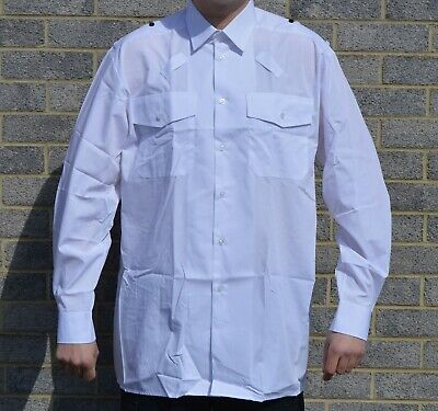 New Double Two Mens White Long Sleeve Shirt With Epaulets Loops For Security
