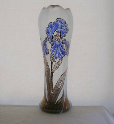 "ESSENCE of ART NOUVEAU Glass VASE Museum Quality HAND PAINTED Iris 13.25"" TALL"