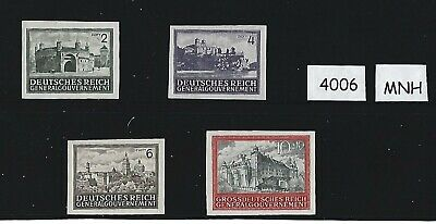 #4006  1943-44 MNH stamp set /  Castles in Poland Nazi Occupation / IMPERF RARE