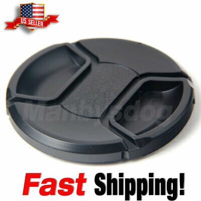 55mm center pinch snap on Front Lens Cap Cover for Canon Nikon Sony w string USA