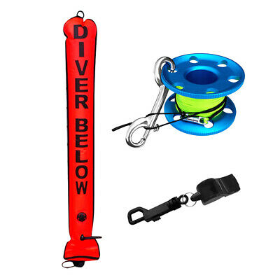 Scuba Diving Diver Safety SMB Signal Tube + Finger Reel Spool + Whistle