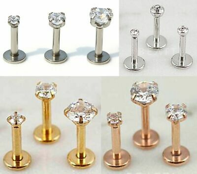 Tragus Bars Earrings Ring Stud Piercing Surgical Steel Labret Lip Clear Gift Bar