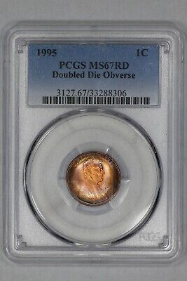 1995 Lincoln Memorial Cent 1C Pcgs Ms67Rd Doubled Die Obv - Amazing Color (306)