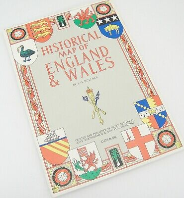 """Historical Map of England and Wales by LG Bullock Cloth 39"""" x 26"""" Vintage 1969"""