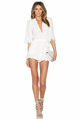 $168 Lovers + Friends Ivory Vneck Lace Elbow Sleeve Reese Romper XS NEW L384