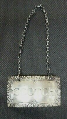 Vintage Williamsburg Restoration STIEFF Sterling Silver SCOTCH Bottle Tag Label