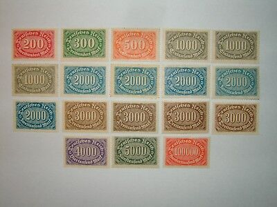 1922-23 GERMANY OFFSET PRINTING STAMPS x 18 MINT HINGED/MINT NO GUM (sg237/46)