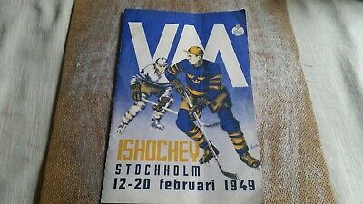 Mega Rare General Program Ice Hockey W Championships 1949 Sweden Austria Sovjet