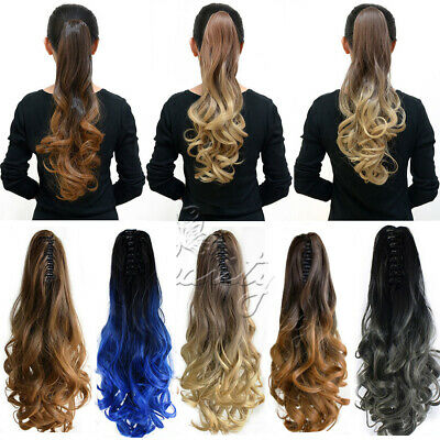 20'' Long Hair Extension Claw Curly Wavy Pony Tail Clip In Hairpiece Full Head