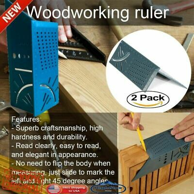 Woodworking 3D Mitre 90 & 45 Degree Angles Square Rule With Gauge and Ruler love
