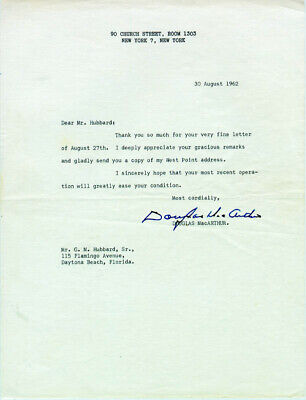 Douglas Macarthur - Typed Letter Signed 08/30/1962