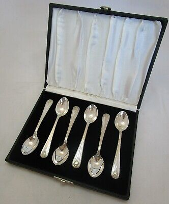Cased set 6 Antique Sterling silver coffee spoons, c1920, 118 grams