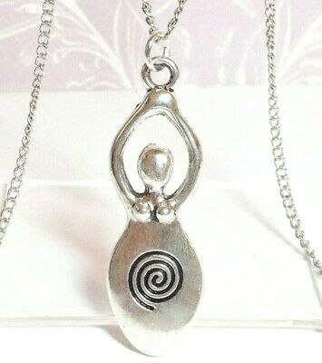 """GODDESS_Pendant on 17/19/21"""" Chain Necklace_Pagan Wiccan Fertility Venus Spiral"""