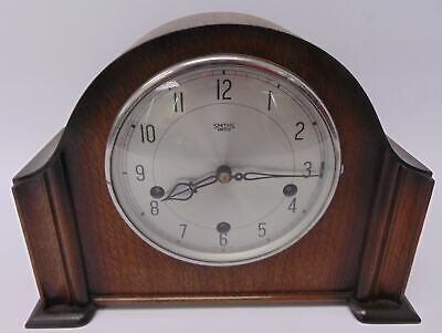 Small Vintage SMITHS ENFIELD Mantel Clock Wood Frame With Chimes & Key - D34