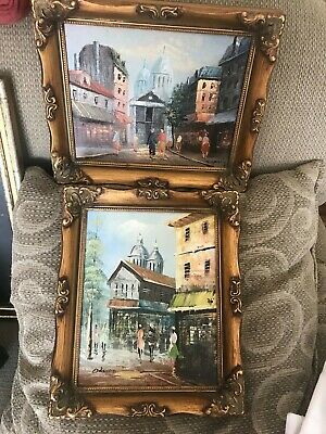 Estate Fine Two French PARIS  framed signed original oil paintings on board