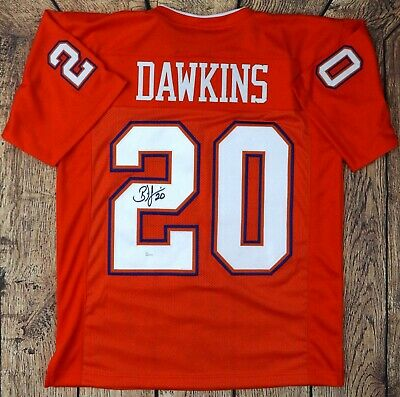 cc8c7424232 Brian Dawkins Signed College Style Custom Orange Jersey Jsa W Authenticated