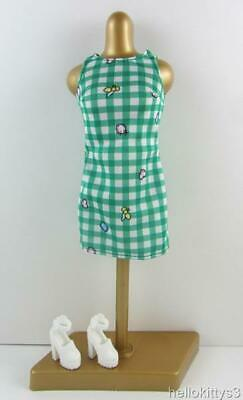 Barbie Fashionista Outfit Emerald Check Gingham Tank Dress White Platform Shoes