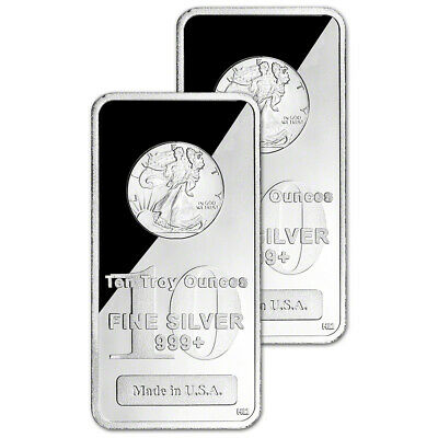 TWO (2) 10 oz. Highland Mint Silver Bar - Walking Liberty Design .999+ Fine