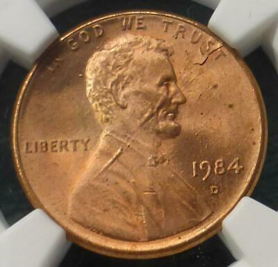 1984 D NGC MS 66 Red Obverse Lamination Lincoln Memorial Cent, Mint Error Cent