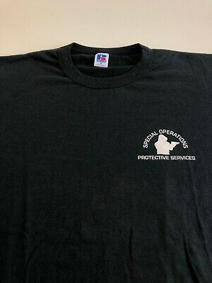 Vintage Russell Athletic T Shirt Special Ops Protective Services Sz XL Black Tee