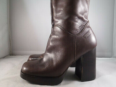 5b7635f54a0 PM3 VTG 90'S Candies Brown Leather Ankle Zip Platform Chunky Heel Hippie  Boots 8