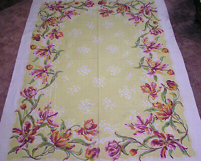 Vtg Cotton Tablecloth Pink Lavender Parrot Tulips Green Lvs on Yellow